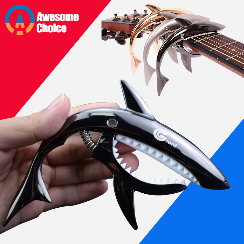 Quality Shark Aluminium Alloy Metal Guitar Capo Quick Change Clamp Key Acoustic Classic Guitar Capo Tone Adjusting Guitar Parts