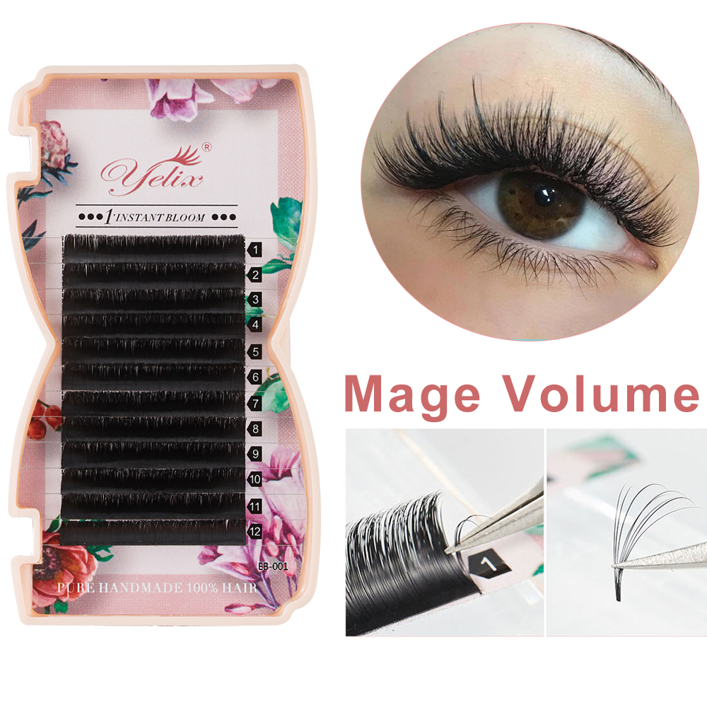 Yelix Mega volume lashes auto Fan individual eyelash extensions Easy fan Natural Professional eyelashes for building