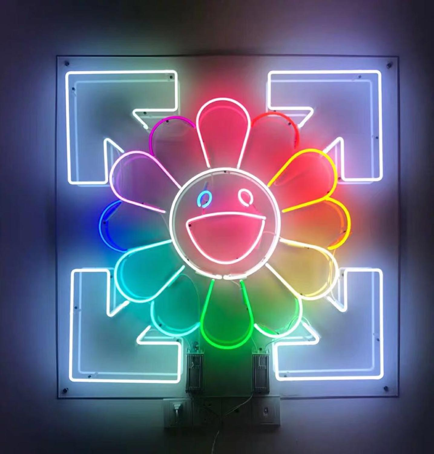 Guangzhou Factory Custom Murakami Takanori The Sun Smile Face Neon Signs Beer Bar Pub Party Store Home Room Wall Decor 50*50cm