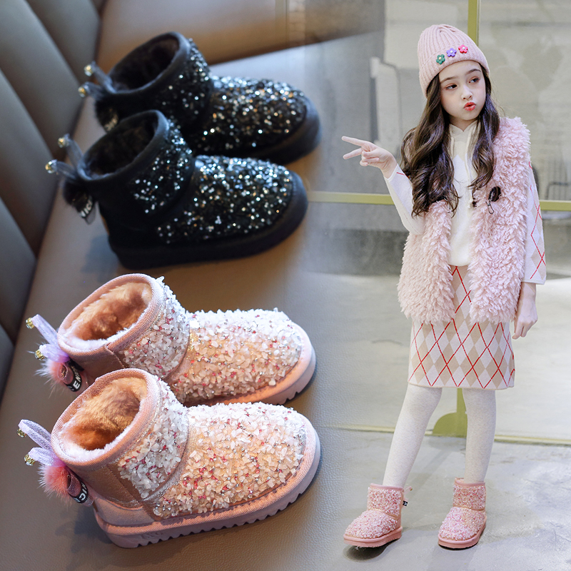 AAdct 2019 Princess Baby Girls Boots Cotton Fur Warm Little Kids Snow Boots For Girls Brand New Children Shoes Rhinestone