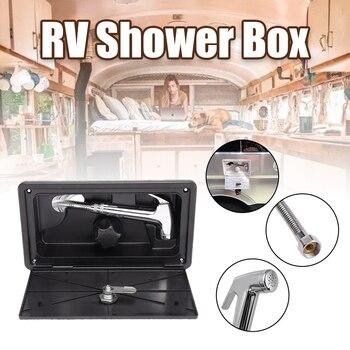 1 Juego de caja de ducha RV, Kit externo con cerradura para barco, campista marina, incluye grifo de ducha, accesorios para caravana y caravana, manguera de Ducha