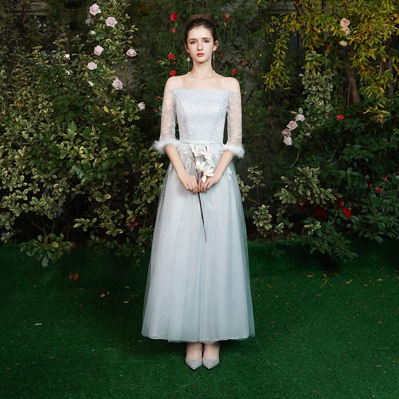 Guest Wedding Party Dress Elegant Vestido Azul Marino Bridesmaid Dress Long Simple Half Sleeves Special Occasion Dress Sexy Prom