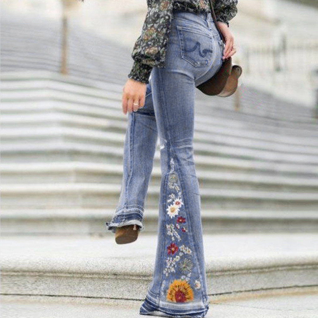 Embroidery Sexy Jeans Women Big Flare Pants Elegant Lady Casual Wide Leg Denim Long Trousers High Waist Slim Bellbottoms Pant