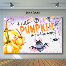NeoBack Baby Shower Backdrop Little Pumpkin Photo Background Cute Spider Bat  Party Photography