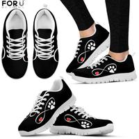 FORUDESIGNS Pet Paw Footprint Pattern Woman Shoes Cute Dog Heart Printing Sneakers Women Breathable Casual Ladies Shoes Flat
