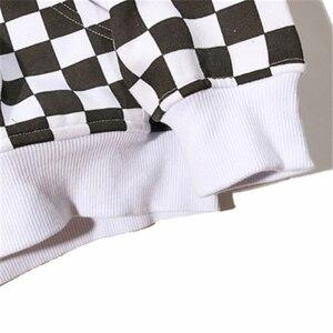 Image 5 - Bebovizi Mens Harajuku היפ הופ לרכוס קפוצ ון סווטשירט שחור לבן שחמט משובץ הסווטשרט Streetwear צמר ברדס הברנש