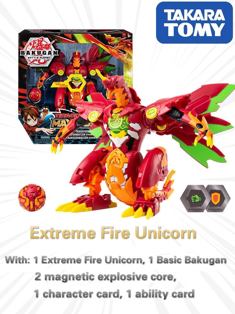 TAKARA TOMY BAKUGAN 25cm feu extrême licorne véritable tout nouveau dinosaure exclusif éclatement catapulte jouet de compétition