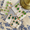 1PC Only Beautiful  Green Rhinestones Womens Hair Clips  Retro  Small Exquisite Bangs Side Alloy  Hairpin Hair Accessories