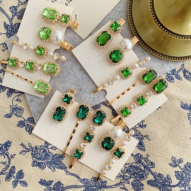 Pinces à cheveux en alliage avec strass verts de style rétro pour femmes, 1 pièce, petites et exquises, accessoires pour cheveux