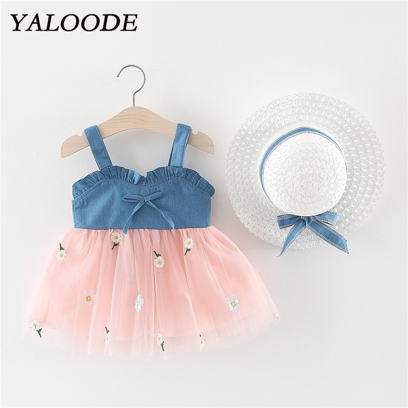 Baby Girl <font><b>Dress</b></font> <font><b>2</b></font> Piece Clothes Set Girl <font><b>Dress</b></font> Bow Hat <font><b>Birthday</b></font> Wedding Party Princess Tutu <font><b>Dress</b></font> Denim Tulle Newborn <font><b>Dress</b></font> image
