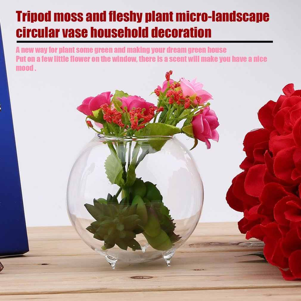 Stativ Unterstützung Runde Form Glas Pflanze Blume Landschaft Vase Behälter Transparent Hydrokultur Vase Fisch Tank Fischglas Home Deco