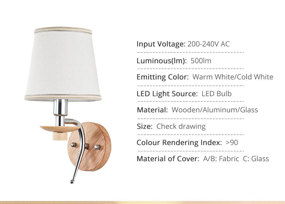 LED Bedside Wall Lamp E14 Bulb Fixtures Wood Aluminum Reading Light Fabric Glass wall Sconce Living Room Bedroom Indoor Lighting (2)