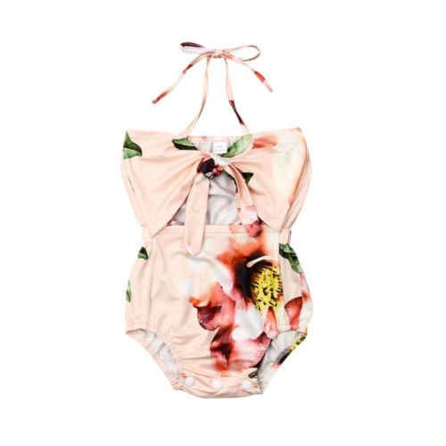 PUDCOCO/Одежда для новорожденных девочек комбинезон с цветочным принтом и лямкой на шее, Цельный Наряд Для детей от 0 до 24 месяцев, оптовая продажа