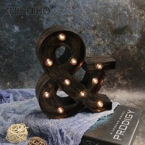 Image 5 - ZMISHIBO A Z i LED list w stylu industrialnym lampki nocne Holiday Bar Cafe wystrój sklepu oświetlenie domu 3D alfabet nocna lampka ścienna