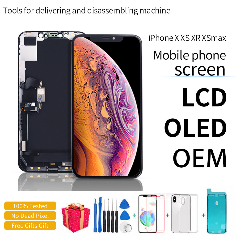 100% Getest LCD Pantalla Voor iPhone X LCD 10 XS Lcd-scherm Touch Screen Digitizer Vergadering Voor iPhoneX XS max XR OLED title=