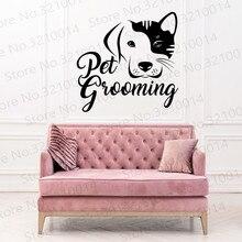Shop Grooming Salon Wall Decal. Pet Shop Vinyl Sticker. Animals Cat Dog Decor. Puppy Decal. Dog Salon Wall Art PW145 dog 56 cute paw heart wall sticker creative cartoon cat dog lover vinyl wall decal home