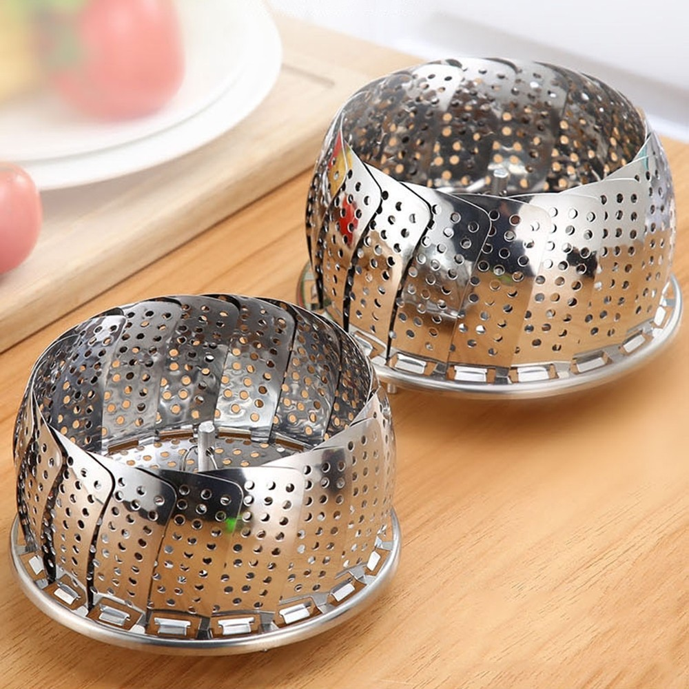 1pc Stainless Steel Folding Steamer Rack Holder Multifunction Tool Food Pot Steaming Tray Stand Cooking Kitchen Accessories