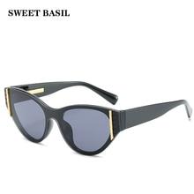 SWEET BASIL 2020 nuevas gafas de sol de ojo de gato de marca de lujo de aleación de Marco Vintage gafas de sol redondas gafas de sol para hombres pequeñas gafas de sol