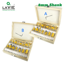 LAVIE 15pcs 8mm Router Bit Set Trimming Straight Milling Cutter for Wood Bits Tungsten Carbide Cutting Woodworking MC02006