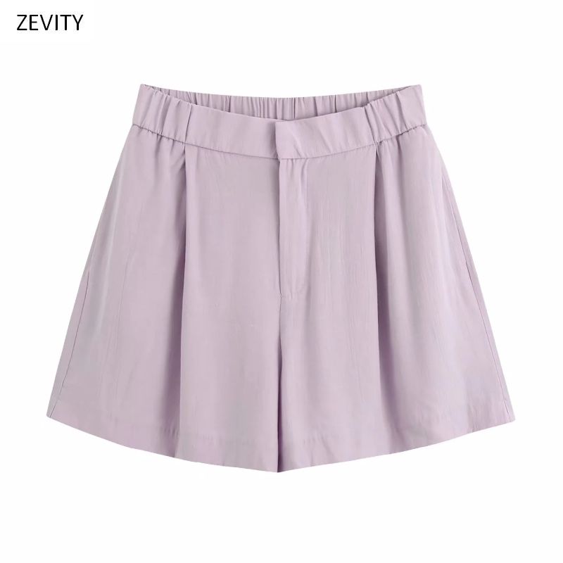 2020 Women Elegant Solid Pleats Casual Slim Hot Bermuda Shorts Ladies Chic Elastic Waist Zipper Fly Shorts Pantalone Cortos P815