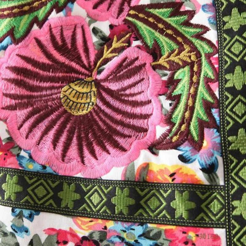 새로운 가을 겨울 복고풍 국가 수 놓은 꽃 얇은 면화 패딩 코트 긴 소매 짧은 재킷 여성 LH154