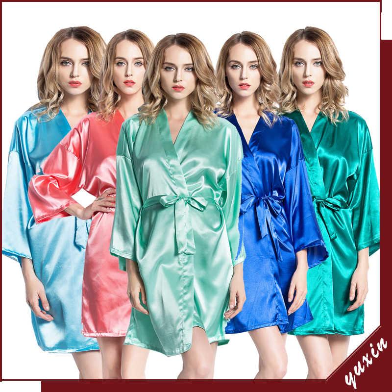 Owiter 2019 Raso di Seta Abito Kimono Accappatoio Degli Indumenti Da Notte Damigella D'onore Vestaglie Sexy Madre Blu Vestaglie Signore Vestono Abiti per Le Donne