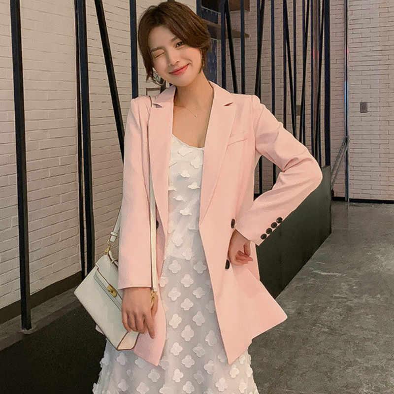 秋韓国語バージョンサイズスーツのジャケットの女性 2019 新しいソリッドカラーのファッション長袖ブレザーカジュアルオフィススーツ