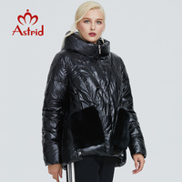 2019 Astrid winter jacket women black glossy fashion coat plush stitching large pocket design warm black women parka AR 9231