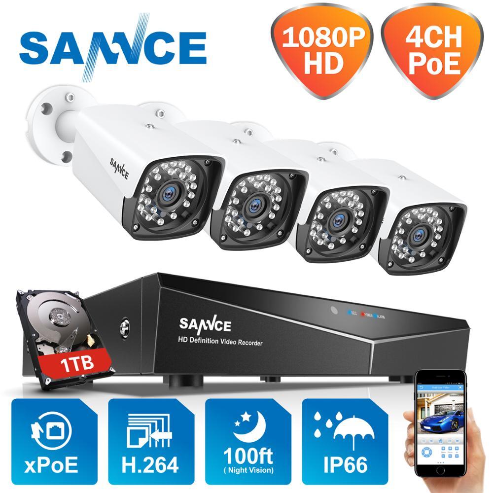 SANNCE 4CH 1080P HDMI POE NVR Kit de sistema de seguridad CCTV 2MP IR IP66 impermeable al aire libre cámara IP macho y jugar Video Vigilancia Conjunto Mini ganchos de mano separador del sistema EAS Super seguridad etiqueta removedor de la llave de la astilla 1 Uds.