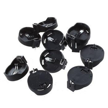 цена на 10pcs Black Round Button Battery Holder Case for CR2032 2016 2025
