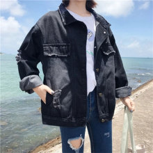 Turn-down Collar Black Loose Denim Jackets Women Casual Korean Style Jean Coats