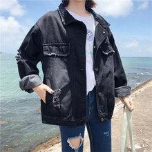 Turn-down Collar Black Loose Denim Jackets Women Casual Kore