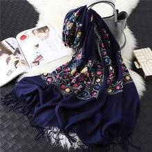 Écharpe en cachemire pour femmes, écharpes de marque de styliste, châles, couvertures, broderie pashmina, hiver, collection 2020