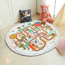 Animal Printed Round Kids Rug Toys Childrens Carpet Baby Play Mat Cotton Puzzle Developing Storage Bag