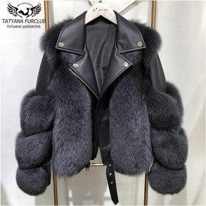 Fashion Real Fox Fur Coats With Genuine Sheepskin Leather Wholeskin Natural Fox Fur Jacket Outwear Luxury Women 2020 Winter New