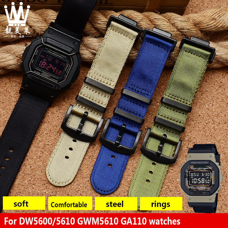High Quality Nylon Watchband Suitable For GSHOCK DW5600 / 5610 GWM5610 GA110 Nylon Canvas Refit Adapter Watch Strap Accessories