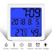 Многофункциональный термометр с подсветкой, ЖК-автоматический электронный гигрометр, цифровые часы, домашний измерительный инструмент 86x90x43 мм