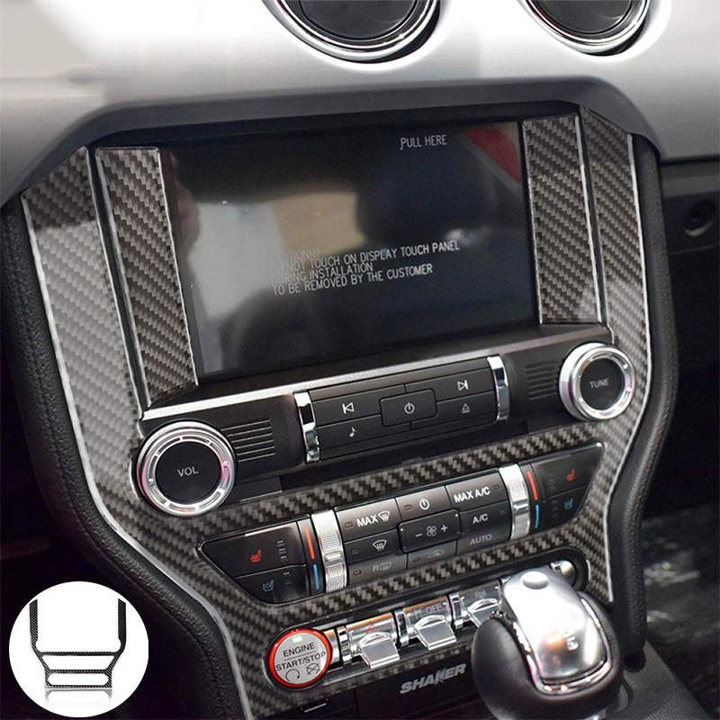 Carbon Fiber Multi-media Console Cover Sticker Panel Trim Decoration For Ford Mustang 2015 2016 2017 2018 2019 Car Interior