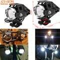 2 uds motocicleta 125w LED Unversial lámpara faro auxiliar Cañón Láser impermeable alta potencia punto Luz Accesorios rango 200m