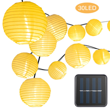 Solar Waterproof Nylon Round Chinese Paper Lanterns Birthday Wedding Decor Gift Craft DIY Lampion Hanging Ball Party Supplies