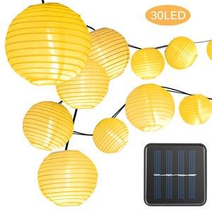 Image 1 - Solar Waterproof Nylon Round Chinese Paper Lanterns Birthday Wedding Decor Gift Craft DIY Lampion Hanging Ball Party Supplies