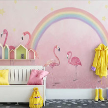 Milofi custom 3D wallpaper mural flamingo children's room princess pink background wall for living room bedroom decoration paint(China)