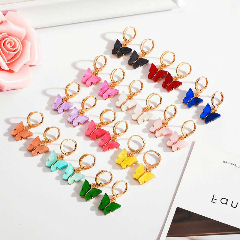 Korea Pop Pesona 12 Warna Drop Anting-Anting Akrilik Lucu Kupu-kupu Anting-Anting Wanita Anting-Anting Fashion Perhiasan Manis Hadiah Grosir