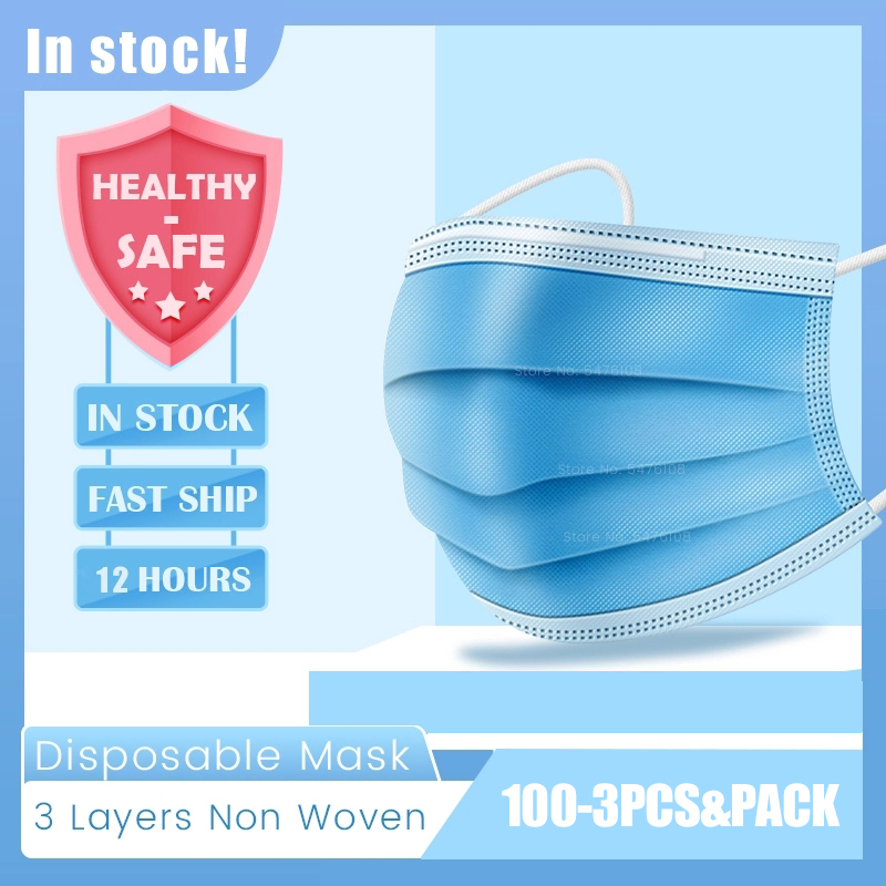 100Pcs Safety Face Masks Protective Mask Disposable 3 Layers Non-Woven Filter Dustproof Earloop Mouth Masks 12 Hours Shipping