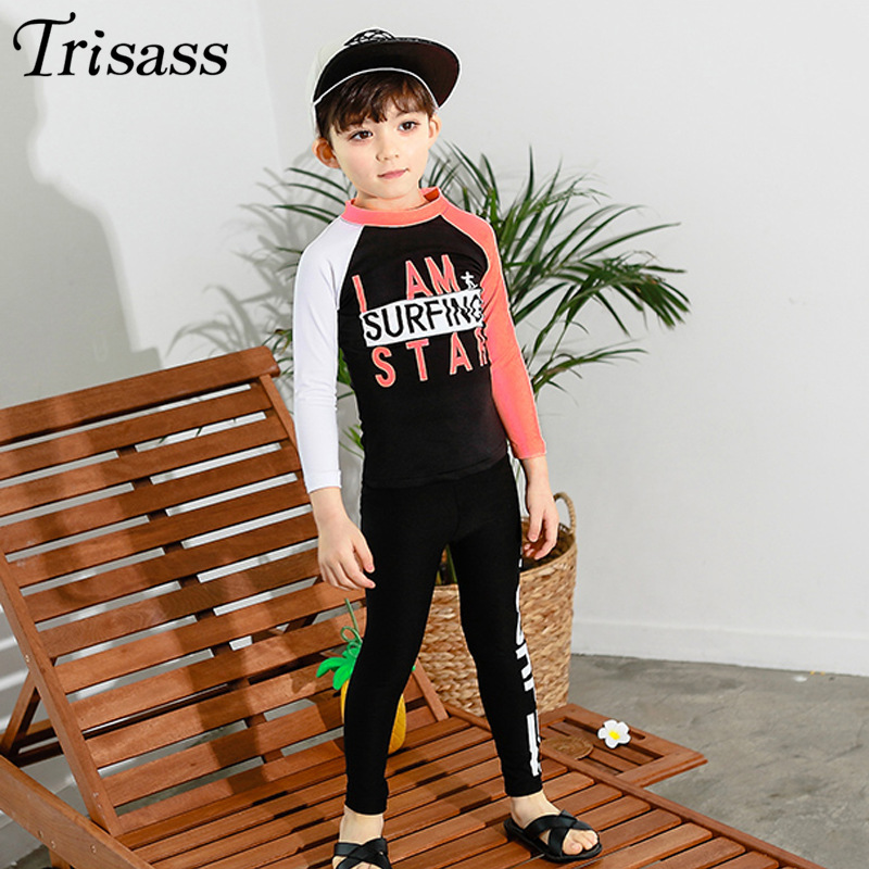 Trisass Korean-style Printed Contrast Color BOY'S Big Kid Bathing Suit Long Sleeve Trousers CHILDREN'S Swimsuit Sun-resistant Su