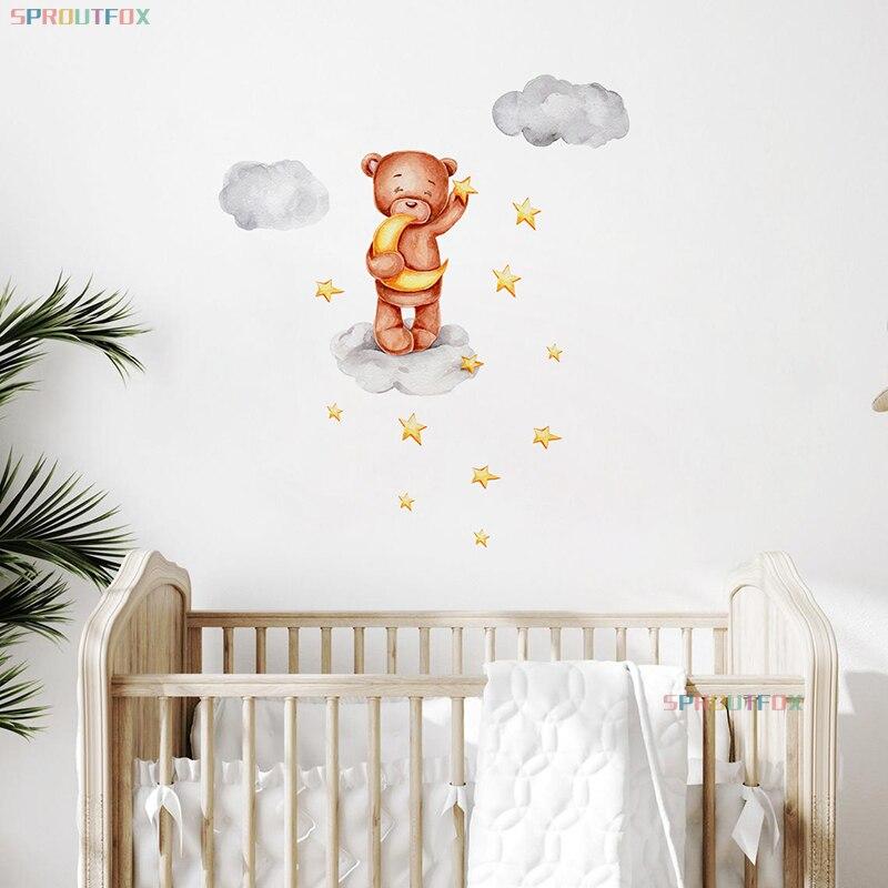 Детские настенные наклейки с животными, медведем, Луной и звездами, современные деординативные скандинавские детские украшения для спальн...