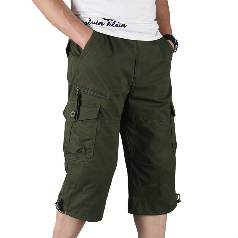 Men Cotton Cargo Shorts Summer Overalls Multi Pocket Long Length Casual Capri Pants Male Tactical Military Shorts Pop Breeches
