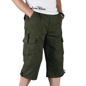 Pants Summer Overalls Capri Cargo-Shorts Multi-Pocket Tactical Male Long-Length Cotton