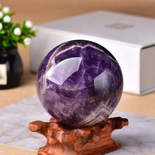 1PC Natural Dream Amethyst Ball Polished Globe Massaging Ball Reiki Healing Stone Home Decoration Exquisite Gifts Souvenirs Gift