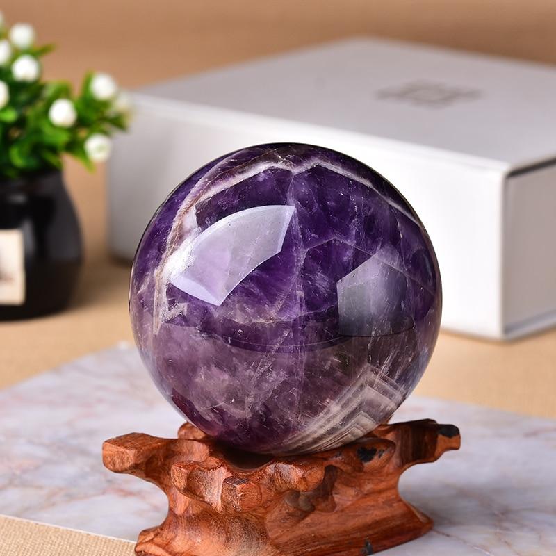 1pc sonho natural ametista bola globo polido massagem bola reiki cura pedra decoração para casa presentes requintados lembranças presente
